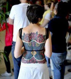 woah, awesome! corset tattoo!