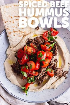 These spiced beef and hummus bowls make a simple and tasty summer dinner. Topped with fresh tomatoes and parsley and served with pitta or flatbread it's the perfect easy meal. Best Appetizer Recipes, Spicy Recipes, Lunch Recipes, Easy Dinner Recipes, Summer Recipes, Beef Recipes, Easy Meals, Healthy Recipes, Picnic Recipes