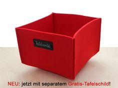 Utensilos & Stoffkörbchen - einfacher roter Korb aus dickem Filz - ein Designerstück von Decotina bei DaWanda - http://de.dawanda.com/product/40737562-einfacher-roter-korb-aus-dickem-filz