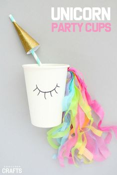 Add fun details to a unicorn birthday party withe these DIY Unicorn Party Cups: Step by Step tutorial from Consumer Crafts.| girls birthday party ideas |