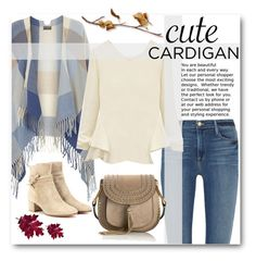 """""""Cute Cardigan"""" by juliehalloran ❤ liked on Polyvore featuring Dorothy Perkins, Frame Denim, Gianvito Rossi and Chloé"""