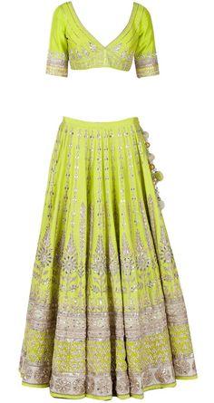 Green Gota Pati Embroidered Lehenga