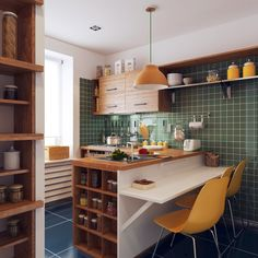 green tiled kitchen with yellow accesoires and wooden linings #japanese