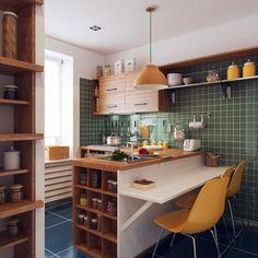 我們看到了。我們是生活@家。: 綠色瓷磚配上黃椅、黃燈,復古又摩登!俄羅斯室內設計SREDA的作品。