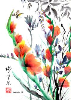"""Just Glad"" Spontaneous (Xie Yi) style Chinese brush painting on rice paper by bgsearle"