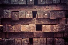 old railroad ties stacked