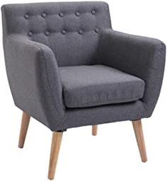 Modern Accent Arm Chair Linen Upholstery Tufted Seat with Wood Frame Thick Padded Light Grey Grey Armchair, Mirror With Shelf, Club Chairs, Arm Chairs, Home Accents, Furniture Sets, Mid-century Modern, Love Seat, Wood