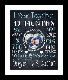 Anniversary Gift For Boyfriend Girlfriend, Chalkboard Art Print 1st 1 One 10 Year Anniversary Personalized Gifts Paper Time Together Present by Printsinspired on Etsy https://www.etsy.com/listing/245988480/anniversary-gift-for-boyfriend