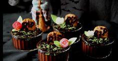 Tumbas de chocolate y oreo para Hallowen