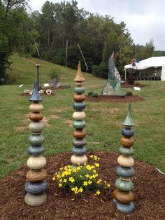 Garden totems, placed in a sculpture garden.