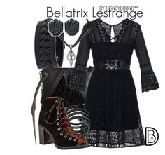 """Bellatrix Lestrange"" by leslieakay ❤ liked on Polyvore featuring Frye, Steve Madden, self-portrait, Michael Kors, Jeffrey Campbell, Kendra Scott and harrypotter"