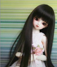 "Amazon.com: BJD Doll Hair Wig 7-8"" Black 1/4 Sd Dz DOD Luts Lati F091: Toys & Games"