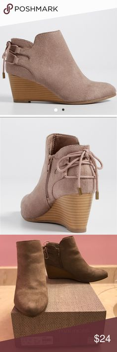 Taupe Booties Adorable taupe booties! Good condition! Lace up in the back. Side zipper. Slight hardly noticeable scuff on the back of the right shoe. Comes with original box. (First two photos off of maurices.com). Maurices Shoes Ankle Boots & Booties