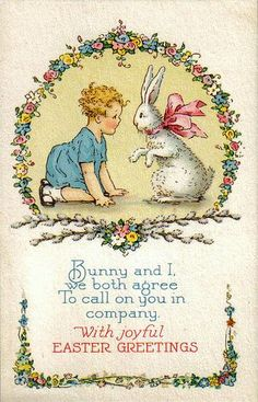 Vintage boy and bunny Easter greeting.