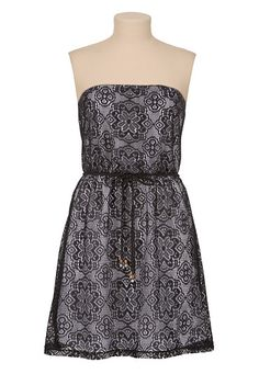 Belted Lace Tube Dress available at #Maurices