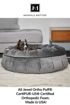 Ali Jewel Ortho Puff® Orthopedic Luxury Dog Bed, Made with CertiPUR-US Certified Orthopedic Foam, Made in USA! Non-Toxic, Safe for your pets!