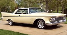 This is a beautiful 1961 Imperial Crown hardtop (body style with a Topaz Interior (code and Coronado Cream paint. American Classic Cars, American Muscle Cars, American Pride, Pontiac Gto, Chevrolet Camaro, Chrysler Imperial, Chrysler Usa, Vintage Cars, Antique Cars