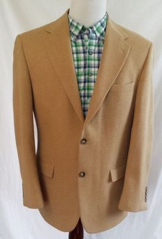 ANDREW FEZZA Mens Size 40 R 100% Camel Hair Blazer Sport Coat Caramel 2 Button #AndrewFezza # TheSmart Shoppe