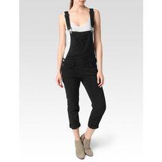 Paige Sierra Overall - Vintage Black ($279) ❤ liked on Polyvore featuring jumpsuits, vintage black, cotton jumpsuit, jumpsuit overalls, v neck jumpsuit, paige denim and vintage jumpsuit