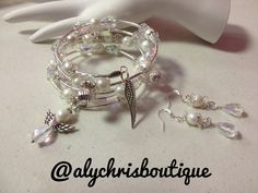 Faux White Pearl & Crystal Bead Angel Charm Wrap Bracelet Earring Set