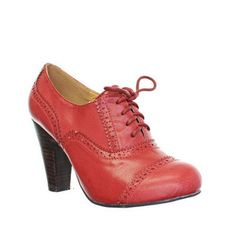 Red Leather Style Brogue Office Work Lace Up