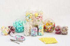 10 tarro Candy Kit para bufé de juego de 10 botes, pinzas, palas de caramelos y dulces bolsas (amarillo): Amazon.es: Hogar