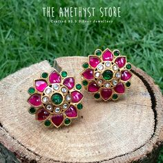 silver with gold plated studs are studded with semi precious stones. Jewelry Design Earrings, Gold Earrings Designs, Gold Jewellery Design, Necklace Designs, Beaded Jewelry, Silver Jewelry, Silver Rings, Silver Earrings Online, Rose Gold Earrings