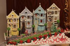 painted ladies at the gingerbread competition Pure Fun, Palace Hotel, Painted Ladies, Gingerbread Houses, Edible Art, Woman Painting, Different Colors, Charity, Competition