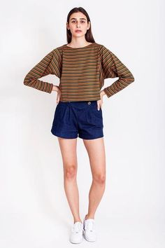 SALES - now was Oversized striped sweatshirt by Chicks on Chic Sales Now, Tight Dresses, The Twenties, Corset, Vintage Outfits, Casual Shorts, Tights, Chic, Sweatshirts
