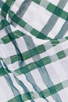 Rosie Assoulin - Picot-trimmed Checked Seersucker Bustier Top - Green - US2