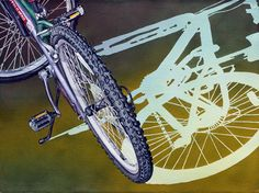 """Soon Y. Warren Bicycle - Shadow Play    Image Size: 22"""" x 30""""    Transparent Watercolor o Paper"""