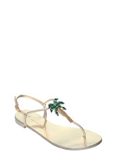 6d82382e7 GIUSEPPE ZANOTTI DESIGN - 10MM SWAROVSKI PALM TREE LEATHER SANDALS - FLATS  - PLATINUM - Luisaviaroma