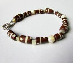 Mother of Pearl Bracelet, Wood and Pearl Bracelet, Tribal Wood Bead Bracelet, Brown and Beige Bracelet by earthlietreasures for $10.00