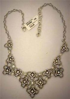 "Brighton JN2682 ""Joan of Arc"" Bib Chain Flower Necklace Silverplate w/ Swarovski Crystals"