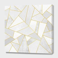 """""""White Stone / Gold Lines"""", Numbered Edition Canvas Print by Elisabeth Fredriksson - From $69.00 - Curioos"""