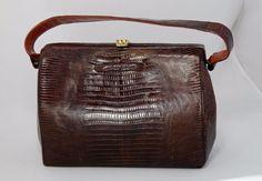 Genuine Lizard Purse Handbag - Vintage (1940-50s) Kelly-Style - Classic Beauty!  #Unbranded #Baguette