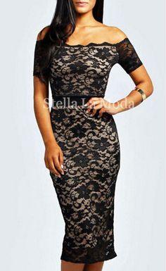 $29.99 Lace off-the-shoulder Midi Dress - Stella La Moda