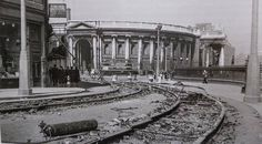 Ripping up the tram tracks at Trinity College Dublin in the late 1940s