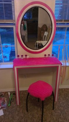 diy vanity for little girl. DIY Girls vanity for 5 year old princess  Small space solution For the