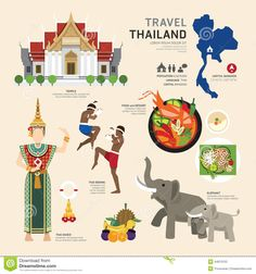 Travel Concept Thailand Landmark Flat Icons Design .Vector Stock Vector - Image: 44970153