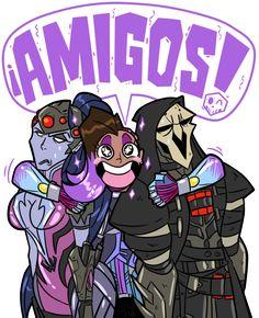 Sombra (Overwatch),Blizzard,Blizzard Entertainment,фэндомы,Overwatch art,Overwatch,Widowmaker,Reaper (Overwatch)