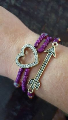 Heart and Arrow Beaded Stack Bracelet by FindingLifeDesigns