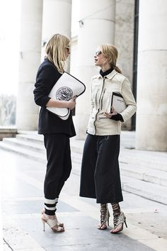 Camille & Pernille talking it in monochrome in Paris. #CamilleOverTheRainbow #LookDePernille