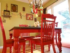DIY Red Kitchen Table I Love This For The Kitchen!!! Add Black And