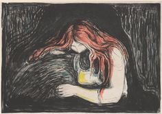 No Brash Festivity Edvard Munch  Vampire II iterations,  lithograph and woodcut in colors, 1895-1902