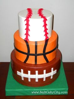 Sports cake!  add a hockey puck top or change the basketball to the baseball and make the top a puck with a skate on it