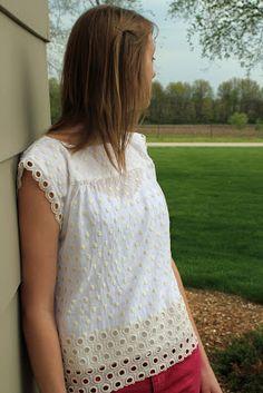Eyelet Border Top for Meredith | Mood Sewing Network. #moodfabrics