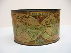 Vintage old world globe pencil pen holder desk accessory home vintage tin desk caddy old world map graphics by dimestorevintage gumiabroncs Images