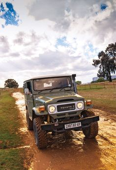 Green Toyota Land Cruiser FJ40 with Snorkel and chopped down ARB bumper