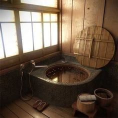 Japanese rural authentic soak tub. Mosaic tiled, round bath stand edge.